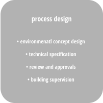 • environmenatl concept design • technical specification  • review and approvals • building supervision process design