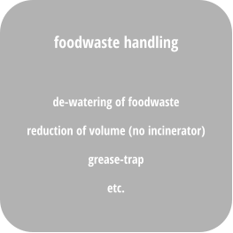 de-watering of foodwaste reduction of volume (no incinerator) grease-trap  etc. foodwaste handling